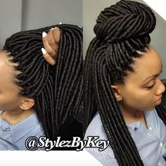 Natural faux locs via @stylezbykey - http://community.blackhairinformation.com/hairstyle-gallery/locs-faux-locs/natural-faux-locs-via-stylezbykey/