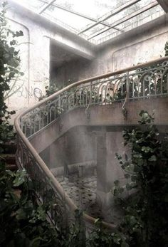 abandoned- This reminds me of the grand staircase on the Titanic...