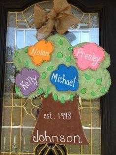 Family Tree Custom Burlap Door / Wall Hanging by UnfamiliarGoods, $30.00