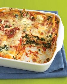 Zucchini Lasagna  Thanks to no-boil noodles, this vegetarian lasagna takes just 15 minutes to assemble. A creamy, slightly tangy mixture of reduced-fat cream cheese and ricotta cheese is spread between layers of oregano-seasoned zucchini.