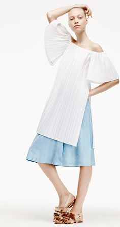 Adam Lippes Spring Summer 2016 - Cotton Shirting Pleated Off Shoulder Tunic and French Blue Suede Kick Pleat Skirt
