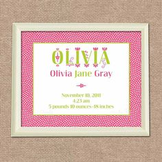 Fancy Birth Announcement Wall Print for Nursery - 8 x 10 Poster