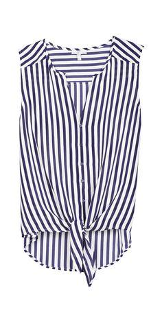 Joie stripe tie-front top.