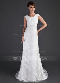 Wedding Dresses - $182.99 - Sheath/Column Scoop Neck Court Train Satin Tulle Lace Wedding Dress With Ruffle Beadwork (002001630) http://jjshouse.com/Sheath-Column-Scoop-Neck-Court-Train-Satin-Tulle-Lace-Wedding-Dress-With-Ruffle-Beadwork-002001630-g1630