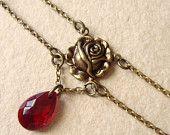 Black friday Cyber monday Christmas gift - Red rose choker - vampire romantic - for her