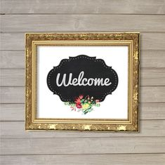 Welcome Floral Faux Chalk Board Wall Art Printable -8x10- Instant Download Guest Room Home Interior Lounge Living Room Decor Digital Poster on Etsy, $6.36