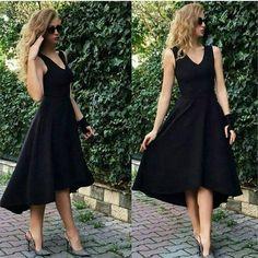 Bayan Elbise: Asimetrik Kesim Kalın Askılı Siyah Yazlık Gece Elbise Dress