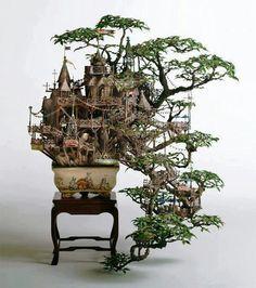 Incredible bonzai tree castle by Takanori Aiba.