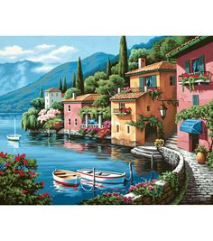 """Dimensions Paint By Number Kit 20""""X16""""-Lakeside Village"""