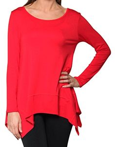Free to Live Women's Loose Fit Long Sleeve Scoop Neck Shark Bite Hem Tunic