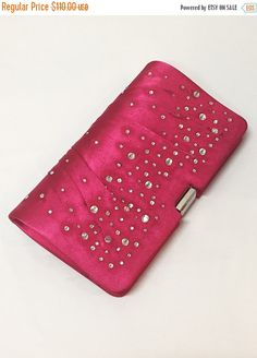 Wedding clutch Fuchsia Crystal Detailing Hot Pink by GlamDuchess