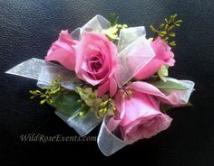 lavender rose corsage with wax flower and sheer white ribbon.  #WildRoseEvents #weddingflowers #corsage