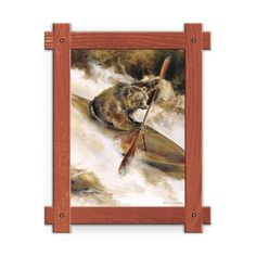 Framed in a rustic-style design, these distressed frames, are the perfect complement to the art they enhance a grizzly bear in a wooden kayak going down whitewater rapids. Art by Mason Maloof Designs.