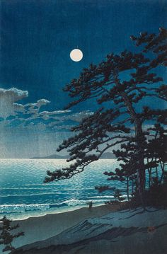Kawase Hasui (Japanese, Spring Moon at Ninomiya Beach, 1932 Woodblock print; ink and color on paper. Japanese Art Prints, Japanese Painting, Chinese Painting, Wallpaper Natal, Kunsthistorisches Museum, Art Occidental, Art Asiatique, Art Japonais, Contemporary Abstract Art