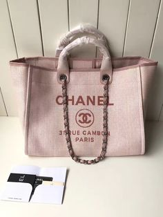 f4c7b7edb3a2 Chanel A66942 Large Toile Deauville Shopping Bag in Poudre Pink