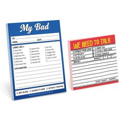 KNOCK KNOCK My Bad, Let's Talk Notepad & Sticky Note Set ($6.99) ❤ liked on Polyvore featuring home, home decor and stationery