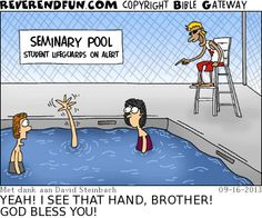 DESCRIPTION: Lifeguard calling out a waving hand in the pool CAPTION: YEAH! I SEE THAT HAND, BROTHER! GOD BLESS YOU!