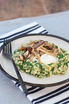 Risotto met spinazie, paddenstoelen en burrata - Francesca Kookt