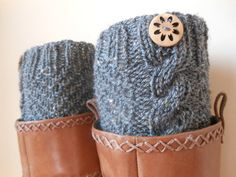 Hand Knitted Boot Cuffs Leg Warmers Grey with by MyKnitCroch, $20.00 LOVE LOVE LOVEEEEEE