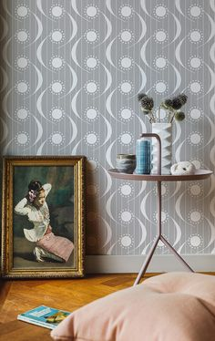 Layla Faye showcases a fresh, vibrant interior range of wallpapers, cushions and lampshades. Bohemian Wallpaper, Beautiful Wallpaper, Trellis Wallpaper, Pearl Grey, Mid Century Design, Lampshades, Designer Wallpaper, Modern Interior Design, Pattern Design