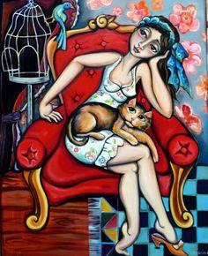 """""""Dame au chat"""" 80 X 100 cm (le canapé rouge 2)"""