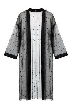 Black Mesh Kimono with Beads