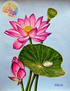 Lotus Artwork, Lotus Painting, Pichwai Paintings, Watercolor Paintings, Watercolor Paper, Watercolor Lotus, Art Mural, Mural Painting, Mago Tattoo