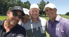 .@JordanSpieth golfing for a cause with our own @GreggOO days after winning US Open http://hubs.ly/y0XpfT0