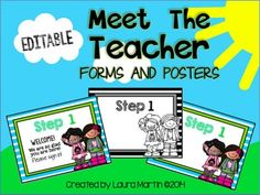 Make Back to School easier with these EDITABLE Meet the Teacher forms and posters.I created these Meet the Teacher forms and posters to minimize the chaos of Back to School! You will find them easy to edit to fit your own needs. Customize your own Meet the Teacher posters with these EDITABLE files: in color and black and white -OR- use the ready-to-use posters provided.**This file includes:One ready to use Meet the Teacher poster set in colorOne EDITABLE Meet the Teacher poster set in colorOne E