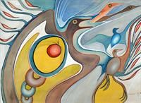 Birds in the Sky, Eddie Cobiness (Ojibwe), Watercolour on Paper Native American Artists, Canadian Artists, Birds In The Sky, Inuit Art, Canada Images, Aboriginal Art, Native Art, Western Art, First Nations