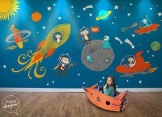 Monkey Wall Decal, Space, astronaut, alien, planet, astro, baby, boys Wall Decal Wall sticker - LARGE SET - dd1073