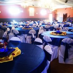 gold and blue tables for a baby shower | Royal Prince Baby Shower Theme by Lasting Impressions