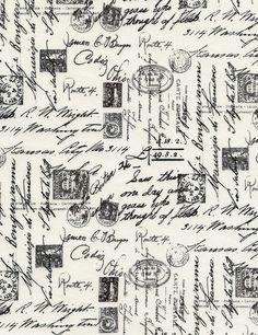 French Script Words Lingo on Cream Paris France Cotton Fabric Print (Noir-c1904-cream)