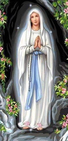 Our Lady of Lourdes Blessed Mother Mary, Divine Mother, Blessed Virgin Mary, Lady Madonna, Madonna And Child, Religious Pictures, Jesus Pictures, Catholic Art, Catholic Saints