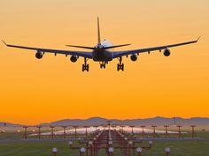 Airbus 340 Landing at Vancouver International Airport, British Columbia, Canada Photographic Print at AllPosters.com
