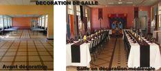 Avant/après décoration de salle médiévale    http://www.sileneproduction.com/decoration_salle_banquet_medieval.JPG