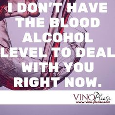 I don't have the blood alcohol level to deal with you right now. www.vino-please.com #vinoplease #wine #humor