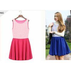 plaid sleeveless pleated dress-rose red