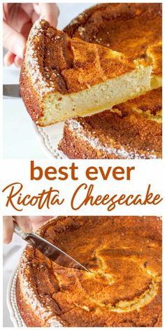 My absolute favorite Baked Ricotta Cheesecake! It is incredibly easy to make, ve… My absolute favorite Baked Ricotta Cheesecake! It is incredibly easy to make, very versatile with the flavoring – lemon, orange, vanilla – and lasts for days. Ricotta Pie, Baked Ricotta, Desserts With Ricotta Cheese, Italian Ricotta Cheesecake, Lemon Ricotta Cake, Cheesecake Cake, Cheesecake Recipes, Dessert Recipes, Peach Cheesecake