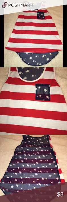 """American flag tank size large Super cute American flag tank size large with sheer back. Some piling and a couple of """"pulls"""" on the back but no rips or stains. Tops Tank Tops"""