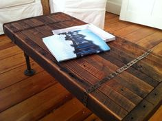 Reclaimed barnwood coffee table, vintage/industrial style