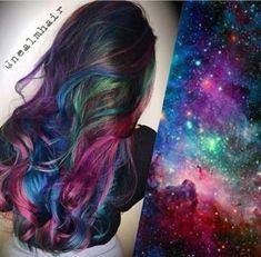 20 Galaxy Hair Color Ideas,the Breathtaking Beauty -, – unterhellt Haare Funky Hairstyles, Pretty Hairstyles, Hairstyle Ideas, Galaxy Hair Color, Galaxy Colors, Pelo Multicolor, Dye My Hair, Cool Hair Color, Hair Colors
