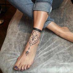 Mandala, foot tattoo on TattooChief.com