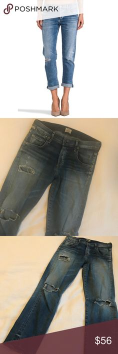 "COH Emerson slim in Crosby Excellent pre-owned condition. Hem is cut to a 24"" inseam. Distressed throughout. Has a good about of stretch so they're comfy but have a vintage rigid look to them. Premium vintage collection. Run on the bigger side. Citizens Of Humanity Jeans Boyfriend"