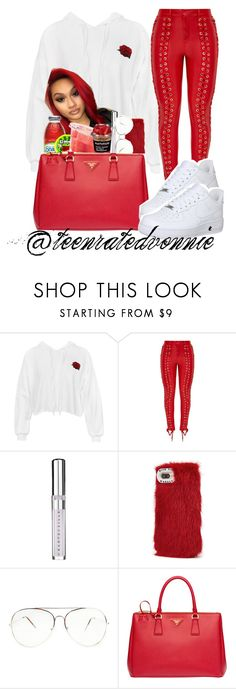 """""""Roses"""" by teenratedvonnie ❤ liked on Polyvore featuring Sans Souci, Chantecaille, Wild & Woolly, Prada, NIKE, cute, pretty, beautiful, nike and polyvorefashion"""