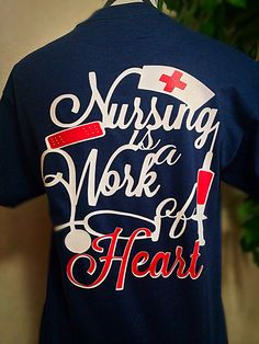 Nursing is a work of heart monogram t shirt by CarolinaSilhouettes