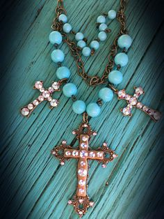 The Bling Box - Pink Panache Turquoise 3 Cross AB Charm Necklace, $48.99 (http://www.theblingboxonline.com/pink-panache-turquoise-3-cross-ab-charm-necklace/)