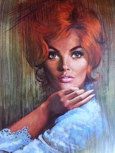 Vintage Lou Shabner Pin Up Pinup Girl Woman Glamour Art Print Lithograph Redhead