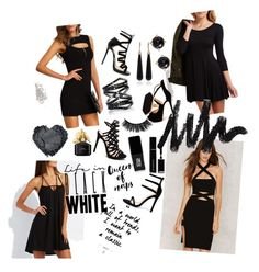 """""""black"""" by deryaaunl ❤ liked on Polyvore featuring Charlotte Russe, Jimmy Choo, Christian Louboutin, Liliana, SUSAN FOSTER, Eva Fehren, Jaeger, Irene Neuwirth, Givenchy and JINsoon"""