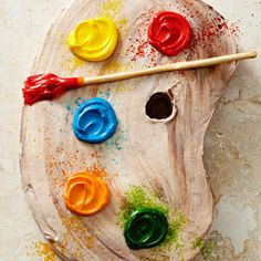 Your artistic little one will love this Artist's Palette cake! More creative birthday cakes for kids: http://www.bhg.com/recipes/desserts/cakes/birthday-cakes-for-kids-recipes/?socsrc=bhgpin082313artistspalette=3